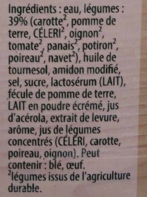 Velouté de neuf légumes - Ingredienti - fr