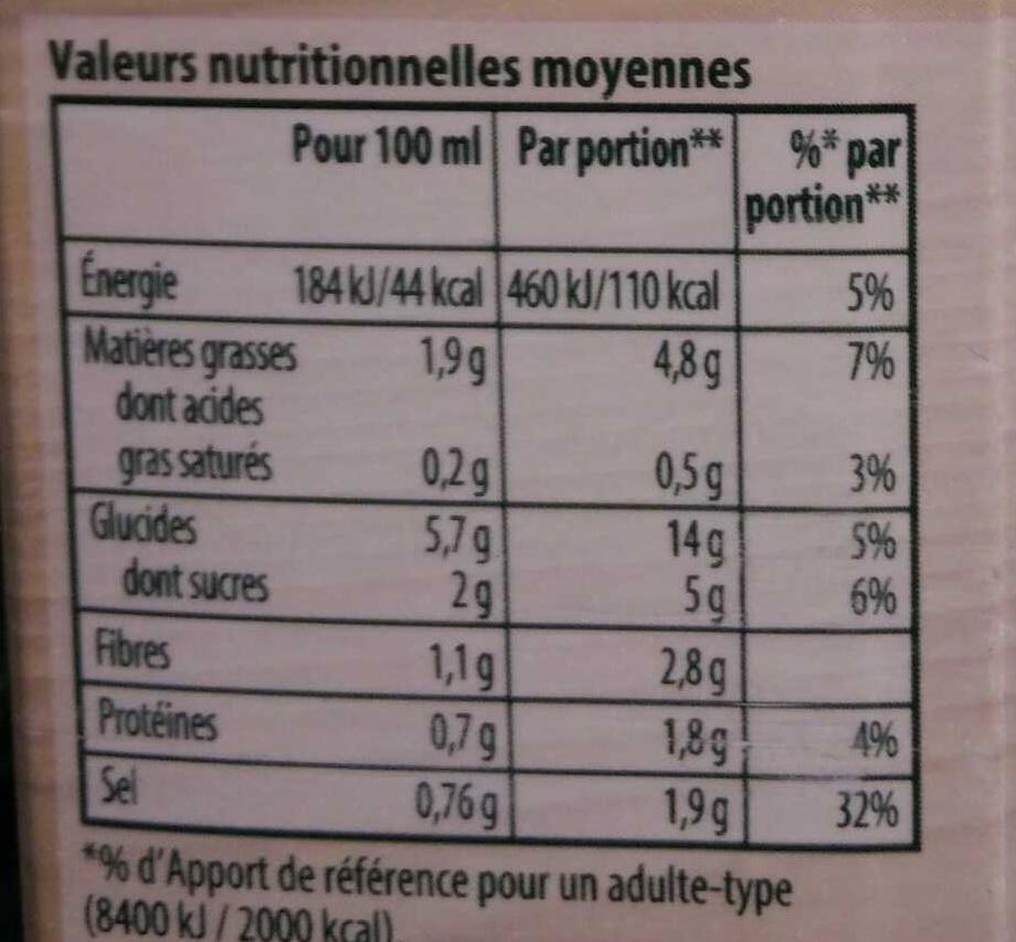 Velouté de neuf légumes - Valori nutrizionali - fr