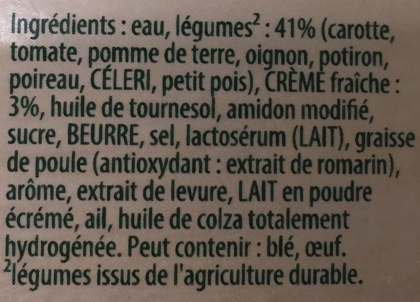 Douceur de 8 légumes à la crème fraîche - Ingredienti - fr