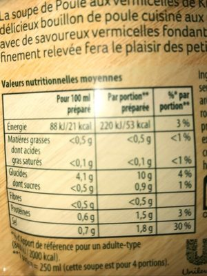 Knorr® Soupe Poule aux Vermicelles 63g 4 Portions - Informations nutritionnelles - fr
