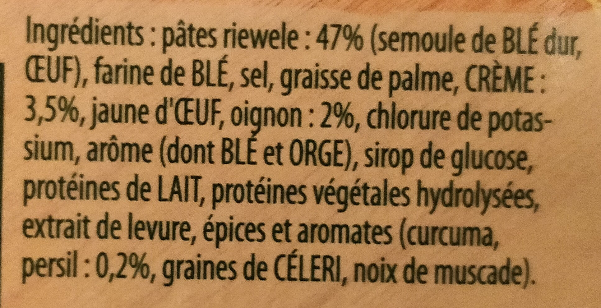 Riewele supp (Soupe à l'alsacienne) - Ingrediënten