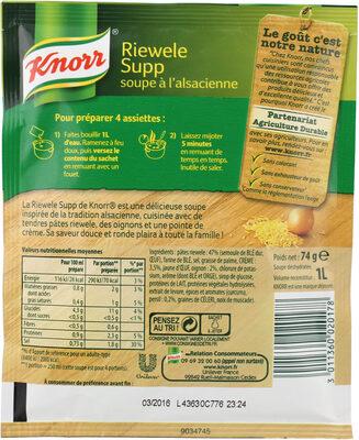 Knorr Soupe À L'Alsacienne Riewele Supp 74g 4 Portions - Ingrediënten
