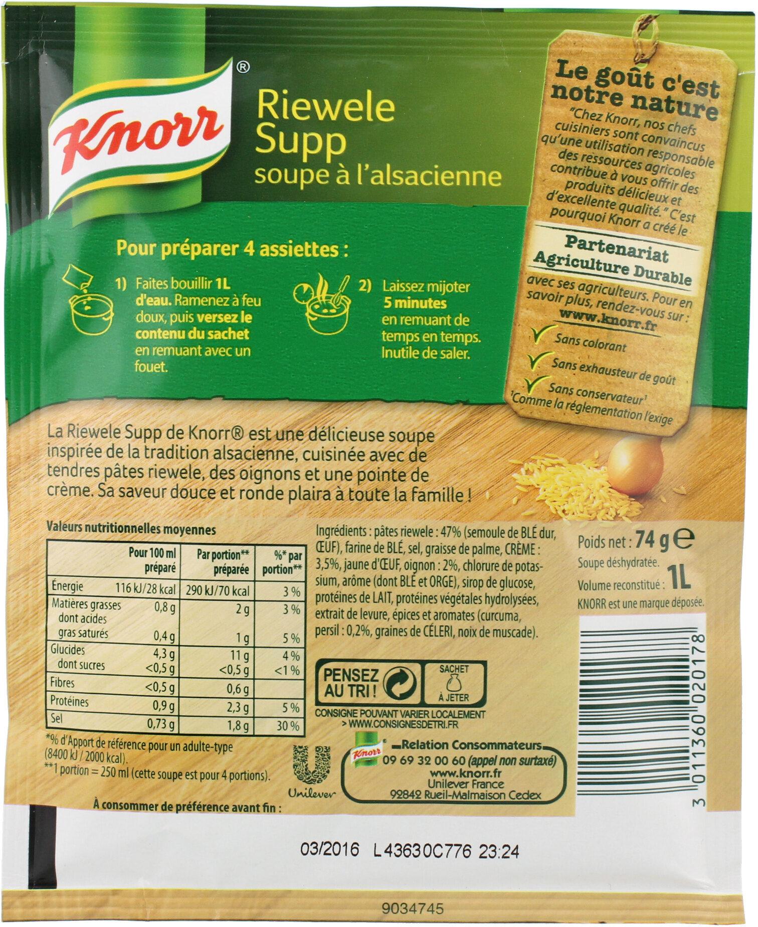 Knorr Soupe À L'Alsacienne Riewele Supp 74g 4 Portions - Voedingswaarden - fr