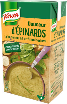 Knorr Soupe Liquide Douceur d'Épinards Crème Ail et Fines Herbes Brique 4 Portions 1L - Product - fr