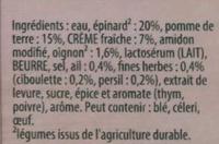 Knorr Soupe Liquide Douceur d'Épinards Crème Ail et Fines Herbes Brique 4 Portions 1L - Ingrediënten - fr