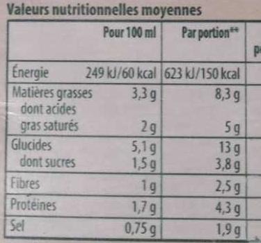 Knorr Soupe Liquide Douceur d'Épinards Crème Ail et Fines Herbes Brique 4 Portions 1L - Voedingswaarden - fr