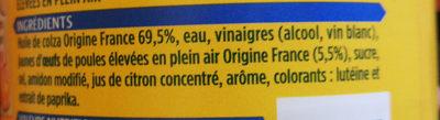 Mayonnaise fine et douce sans moutarde - Ingrédients
