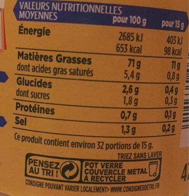 Mayonnaise fine et douce sans moutarde - Informations nutritionnelles