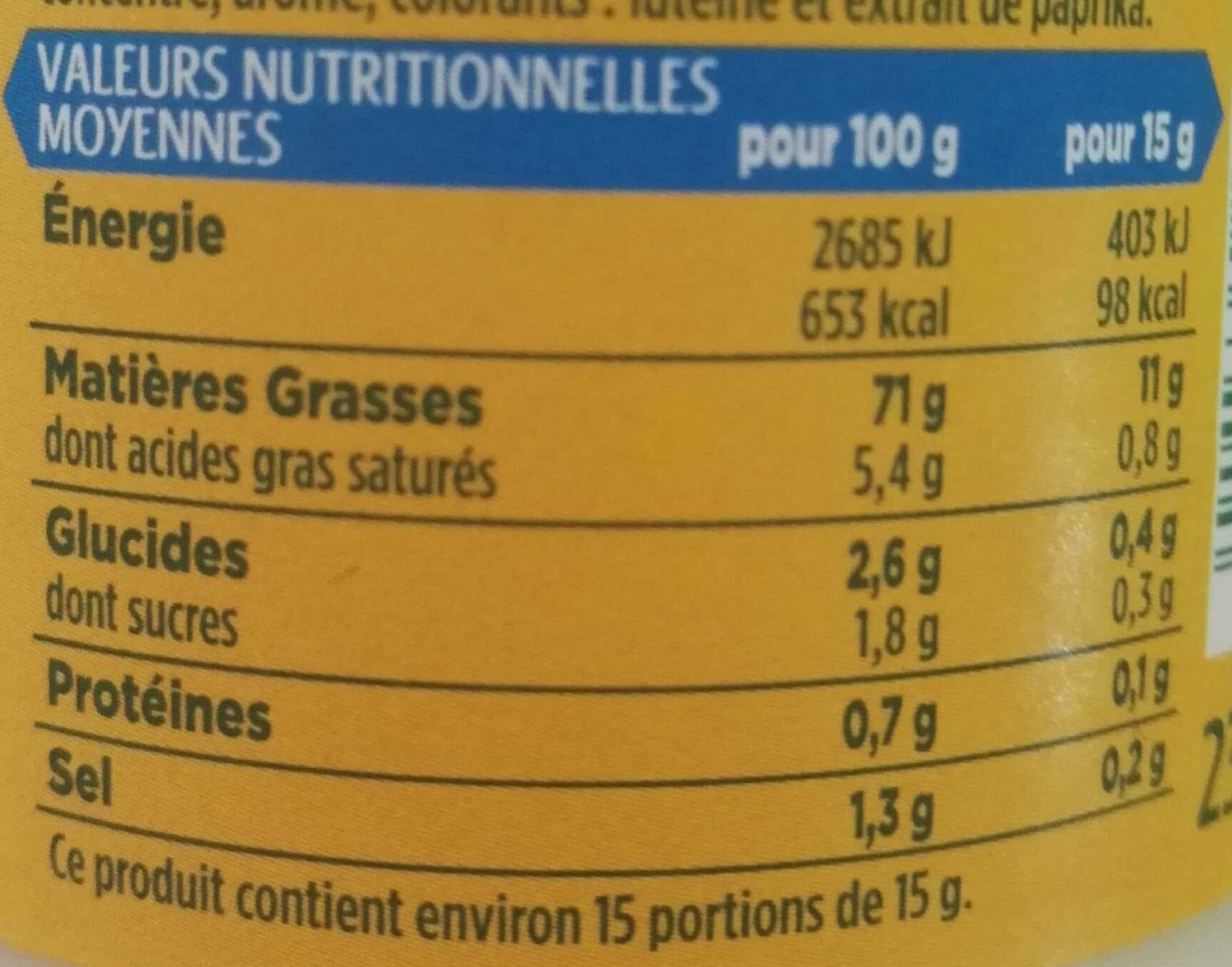 Mayonnaise sans moutarde - Nutrition facts