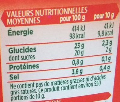 Ketchup - Nutrition facts - fr