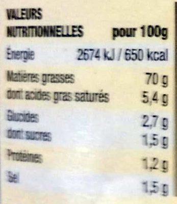 Mayonnaise Haute Fermeté excellente tenue - Nutrition facts