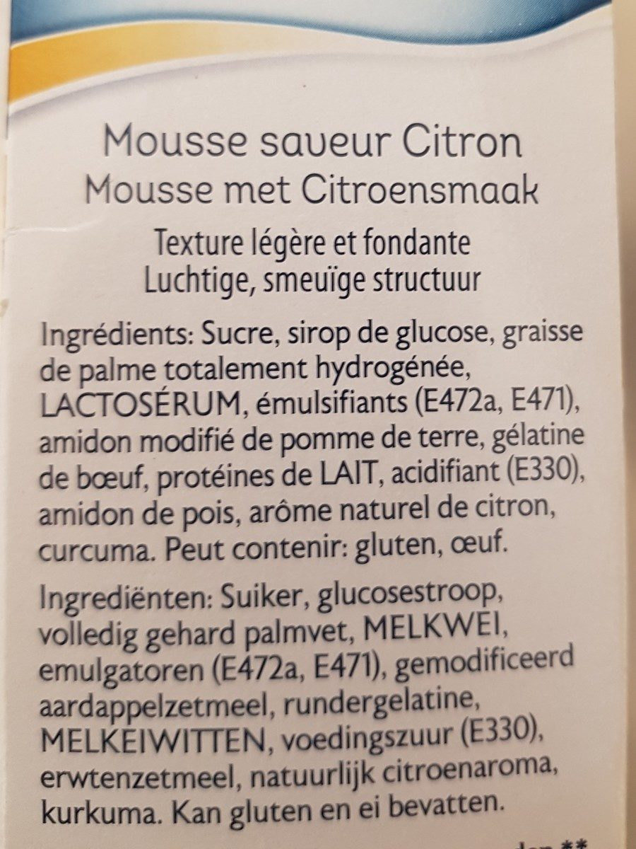 Mousse Au Citron - Ingrediënten - fr