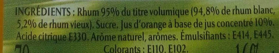 Punch Planteur au Rhum Blanc et au Rhum Vieux - Ingrédients