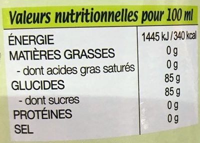 Canadou pur sirop de canne - Informations nutritionnelles - fr