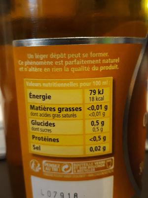 Vinaigre de cidre aux pommes de Normandie - Informations nutritionnelles - fr