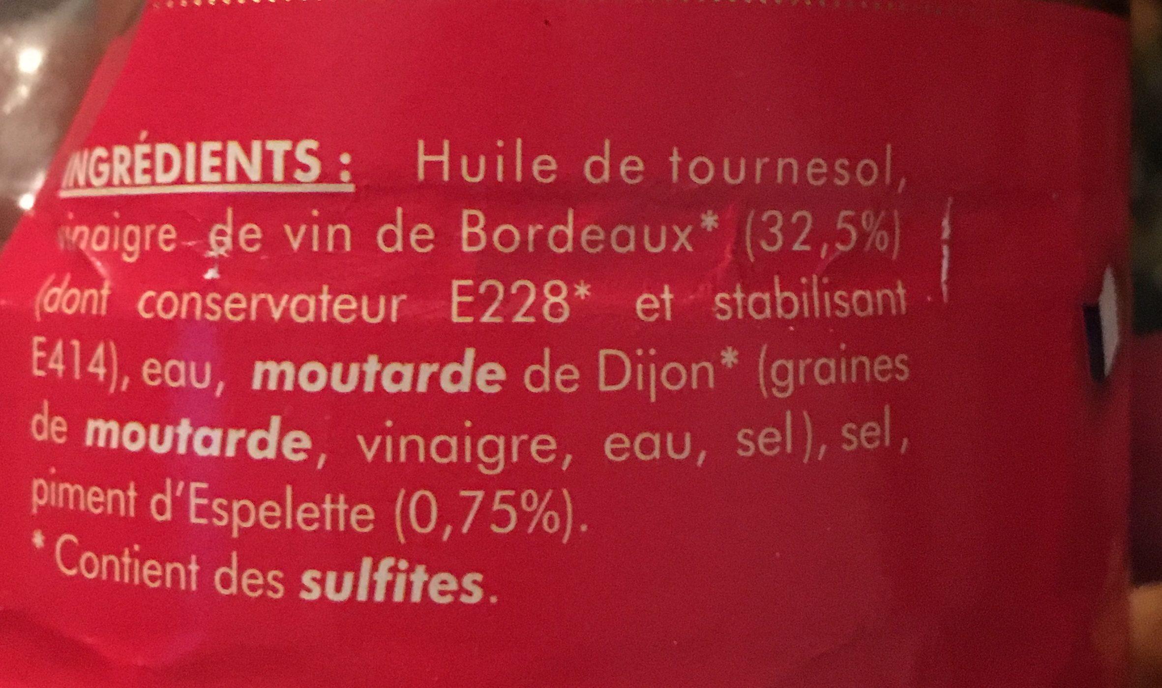 Vinaigrette Au Vinaigre De Vin De Bordeaux Et Piment d Espelette - Ingrédients - fr