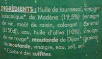 Sauce Vinaigrette à l'huile d'olive et Vinaigre Balsamique - Ingrédients - fr