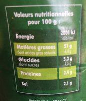Sauce Vinaigrette à l'huile d'olive et Vinaigre Balsamique - Informations nutritionnelles - fr
