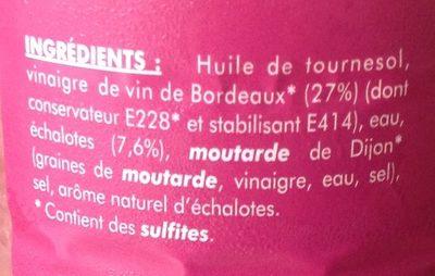 Vinaigrette au Vinaigre de Vin de Bordeaux et Échalote - Ingrédients - fr