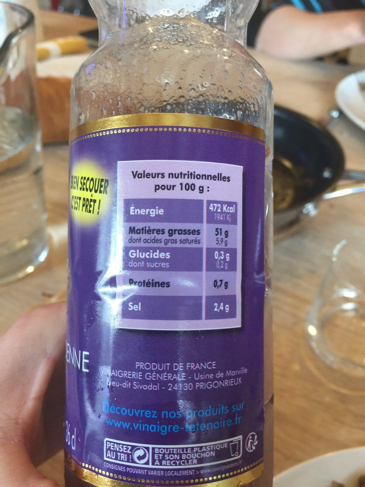 Tête Noire Sauce vinaigrette - Ingrédients - fr