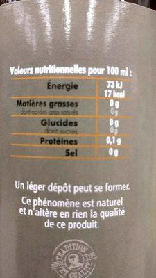 Vinaigre de cidre Tête Noire Bio - Informations nutritionnelles - fr