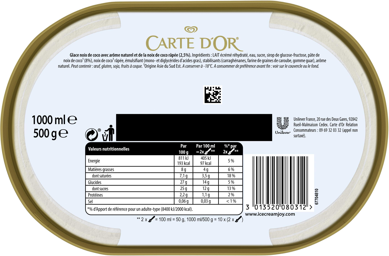 Carte D'or Glace Noix de Coco 1000ml - Ingredients - fr