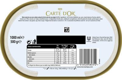 Carte D'or Glace Noix de Coco 1000ml - Nutrition facts - fr