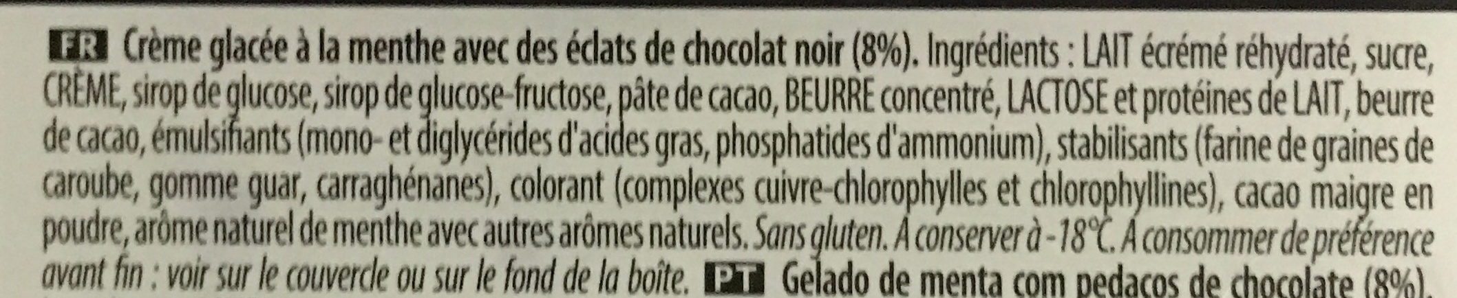Menthe aux éclats de chocolat noir - Ingredients - fr