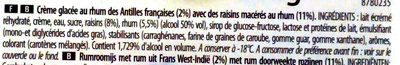 Glace rhum-raisins - Ingredients - fr