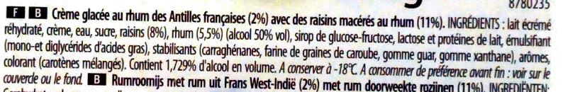 Glace rhum-raisins - Ingrédients - fr