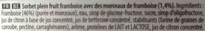 Sorbet framboise plein fruit - Ingrédients