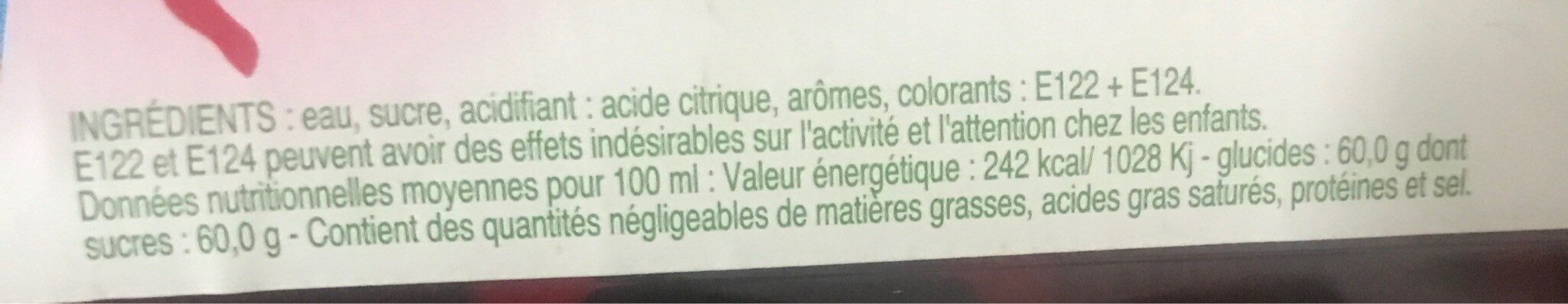 Sirop De Grenadine 1 Litre - Voedingswaarden - fr