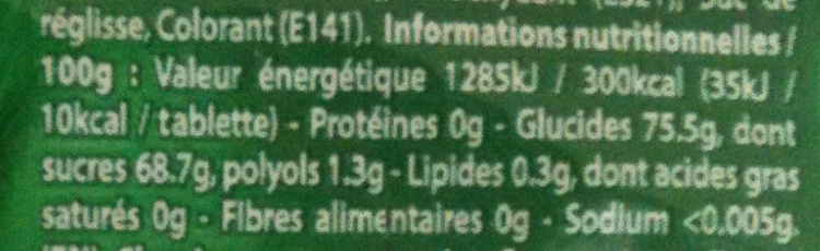 Classic Chlorophylle parfum menthe verte - Voedingswaarden
