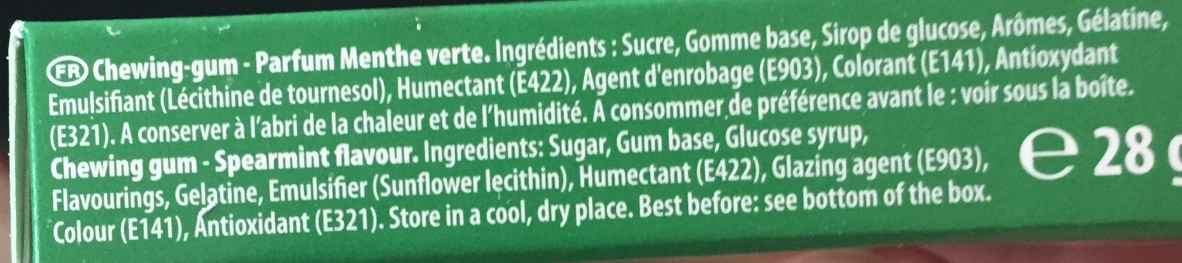 Hollywood classic menthe verte - Ingredients