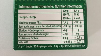 Hollywood classic menthe verte - Nutrition facts
