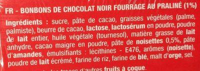 Chocolat noir boules praliné - Ingrédients - fr