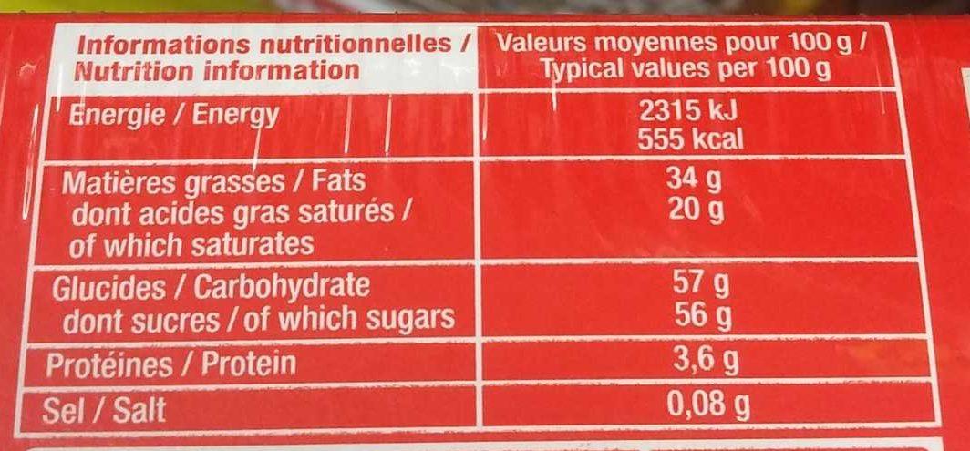 Chocolat noir boules praliné - Informations nutritionnelles - fr