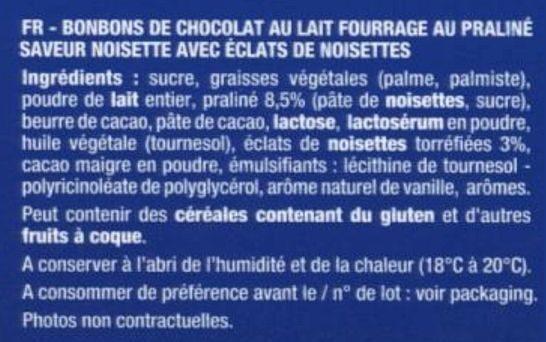 Boules Praliné Éclats de noisettes Chocolat au lait - Ingredients