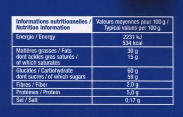 Boules Praliné Éclats de noisettes Chocolat au lait - Nutrition facts