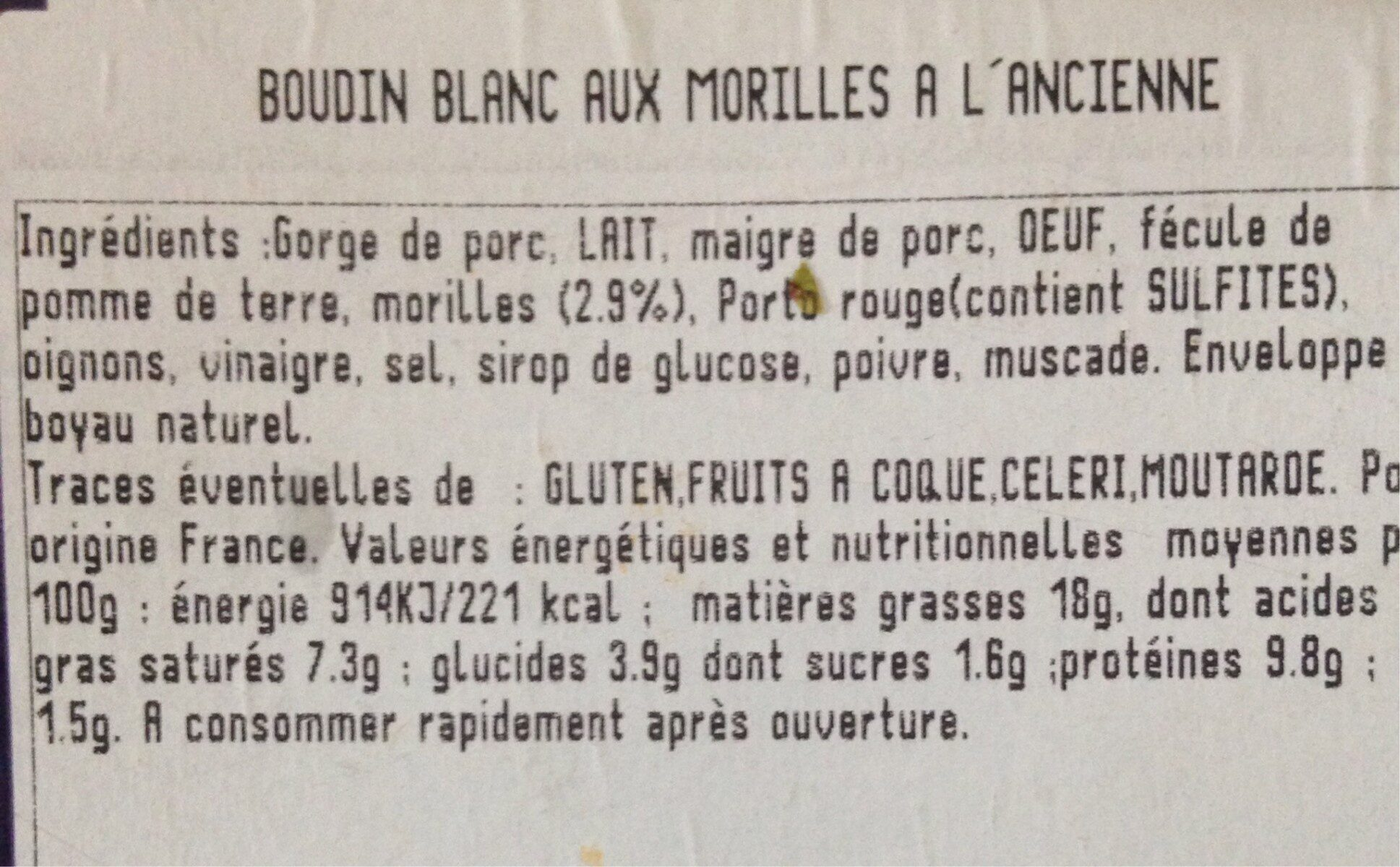 Boudin blanc aux morilles à l'ancienne - Informations nutritionnelles - fr