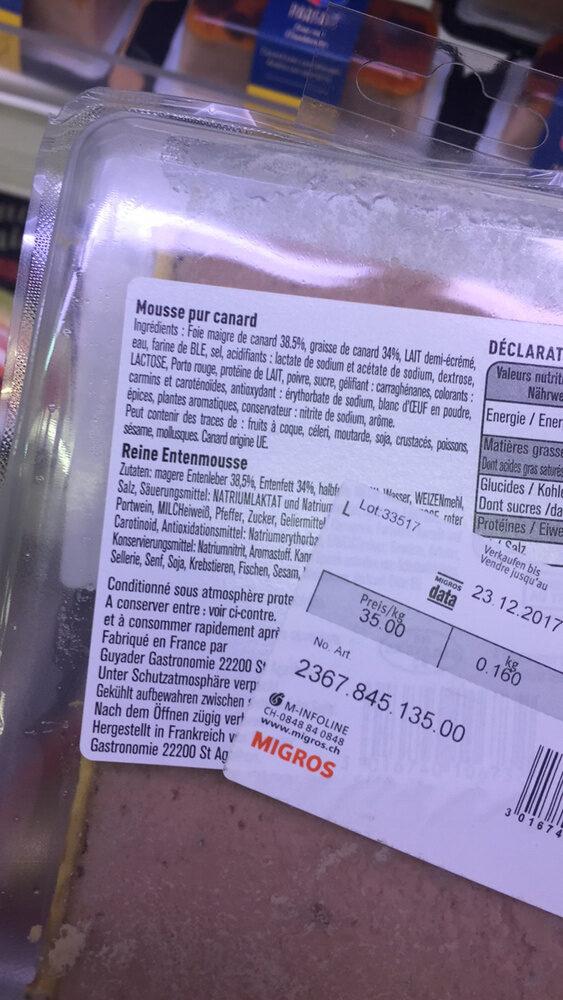 Mousse Pur canard - Ingredienti - fr
