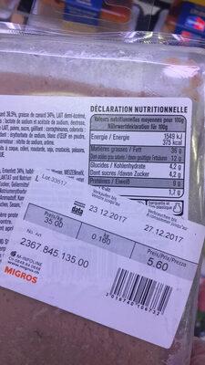 Mousse Pur canard - Valori nutrizionali - fr