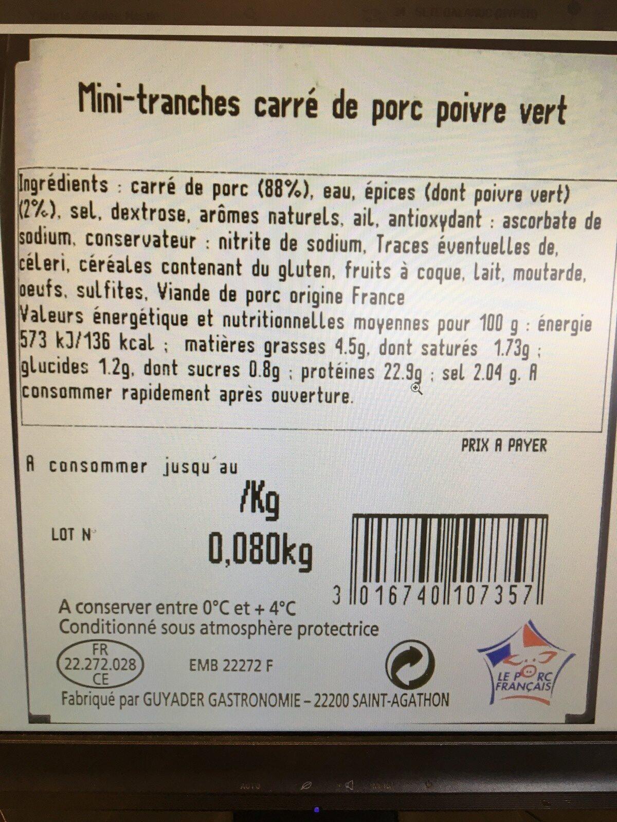 Carre de porc - Ingrédients - fr