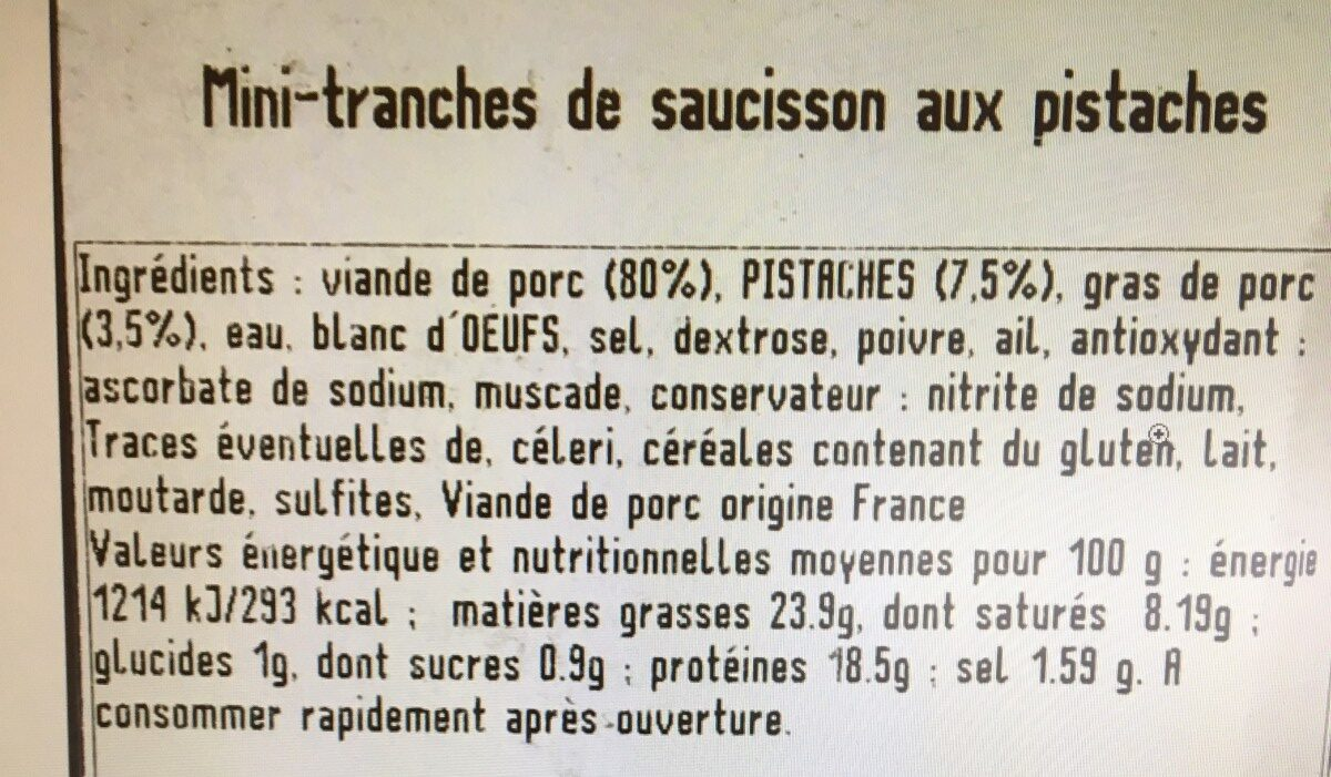 Saucisson aux pistaches - Ingrediënten