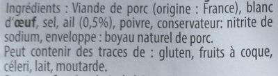 Saucisson cuit à l'ail fumé - Ingrédients - fr