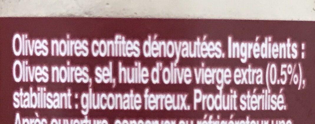 Olives noires confites dénoyautées - Ingrédients - fr