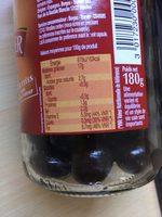 Olives noires entières confites - Informations nutritionnelles - fr