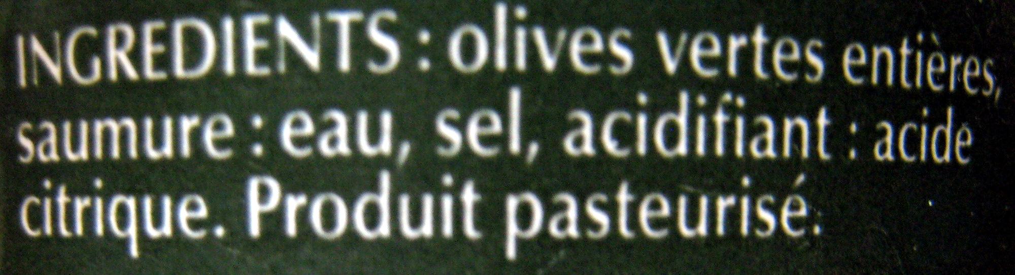 Olives vertes entières - Ingrédients