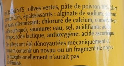 Olives vertes à la pâte de poivron - Ingrediënten - fr