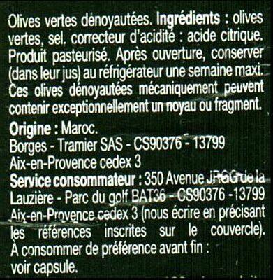 Olives vertes dénoyautées 160g - Ingrédients - fr